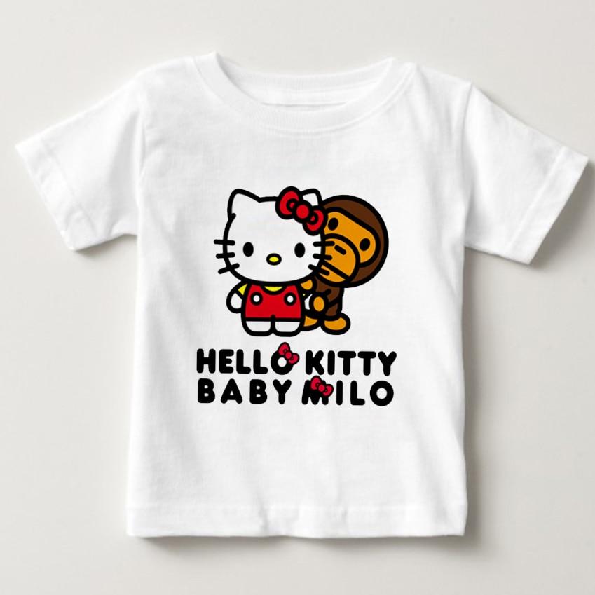 Baby Girls Hello Kitty Short Sleeve Tshirt Girls Summer T-shirt Childrens Cotton T shirt 2018 New Fashion Arrival