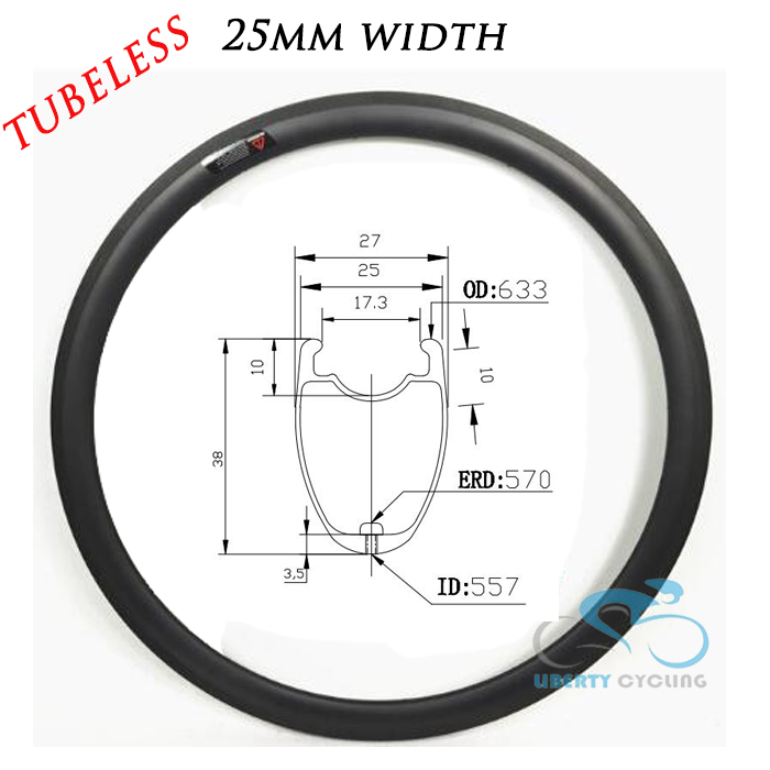 2019 U Shape 38mm 50mm 60mm 88mm 700c Carbon Road Clincher Tubeless Bicycle Wheel Rims Bike Rim, 25mm Width