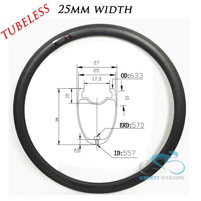 2019 U forme 38mm 50mm 60mm 88mm 700c carbone route pneu Tubeless jante de vélo jante, largeur 25mm