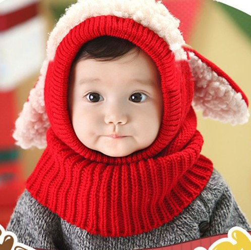 Cute Baby Rabbit Ears Knitted Hat Infant Toddler Winter Warm Hat Beanies Cap with Hooded Scarf Earflap Newborn Kids Kawaii Hat puseky newborn cute winter baby hat fur ball pompom cap kids girl boy winter knitted wool hat caps for girls hemming hat beanies