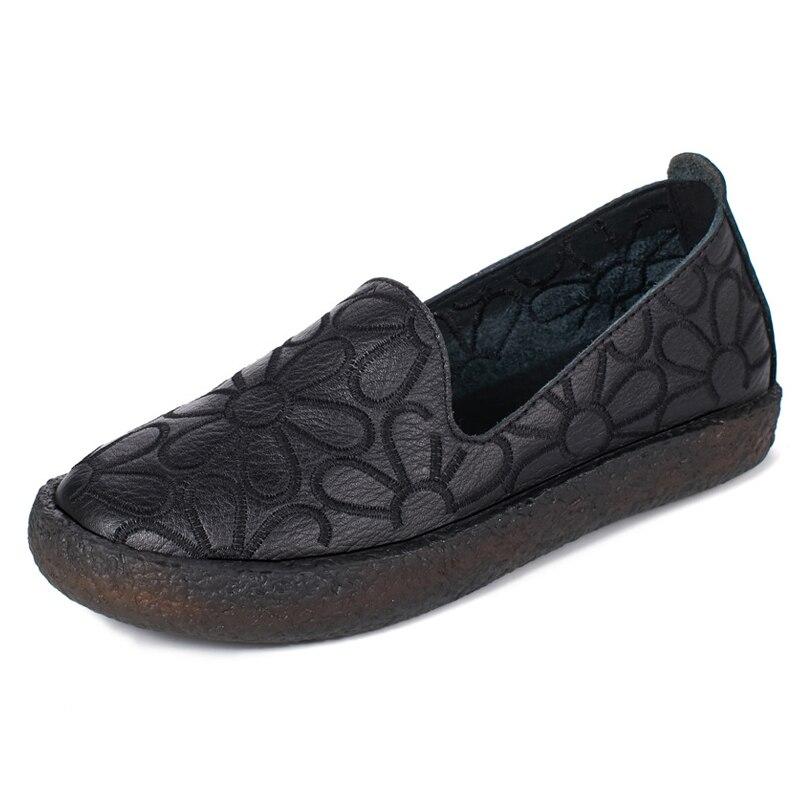 white Genuino Oxford Suave Transpirable Mocasines Étnico Mujeres Zapatos Flor Black De Mujer Z 2018 Vaca Primavera Casuales Cuero Piel fp0HU