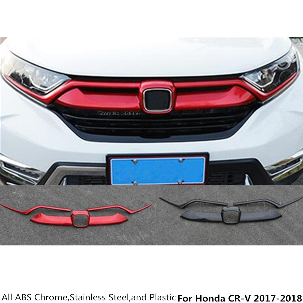 For Honda CRV CR-V 2017 2018 Car stying cover ABS Chrome/Carbon fiber trim Front bottom Racing Grid Grill Grille hood edge
