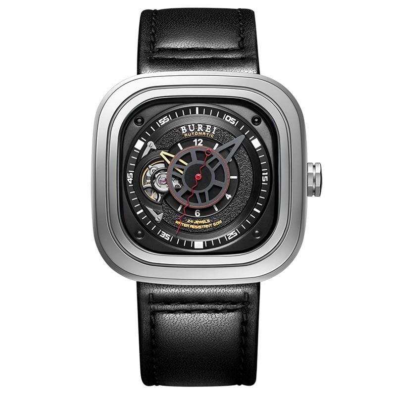 BUREI 15007 geneva Switzerland brand seven skeleton Square japan Time Module 24 jewels automatic ruby jewelery Sapphire gray