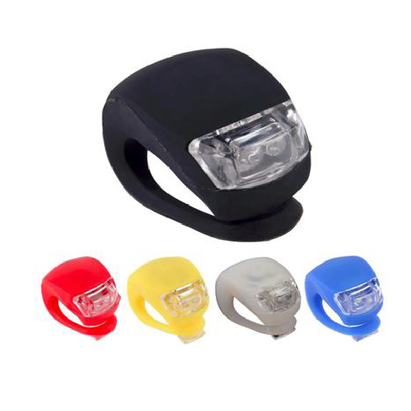 New Front Light Silicone LED Head Front Rear Wheel Bike Light Waterproof Cycling With Battery Bicycle Accessories Bike Lamp