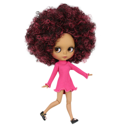 ICY DBS Blyth doll 1/6 bjd joint body dark skin matte face, Wine red mix Black Afro hair, naked doll 30cm QE155/9103