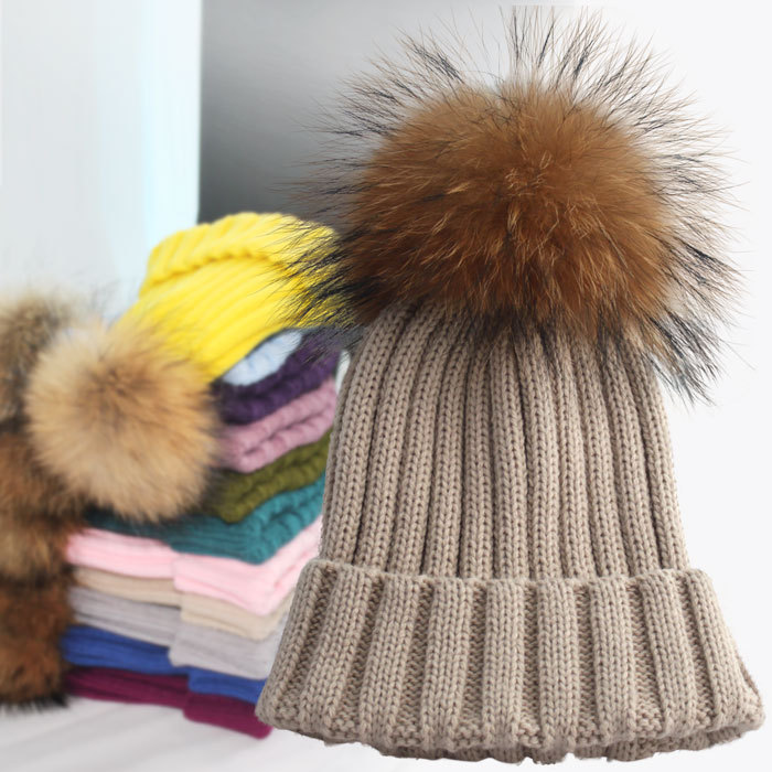 ea1aff5a75a Elastic Big Size Warm Bobble in Winter Young Girls Fashion Hats With Large  Fur Pom Pom Apparel Accessories Skullies Beanies