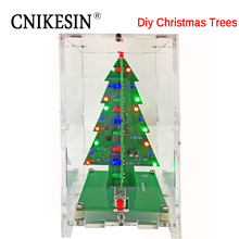 CNIKESIN Diy Kit Three-dimensional color Christmas tree LED water lights Flash tree Electronic DIY production Parts Suite