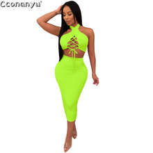 Womens 2 Piece Set Dress 2019 Sexy Two Piece Summer Sleeveless Halter Off Shoulder Lace-up Short Crop Top Party Club Bodycon off shoulder lace up crop top