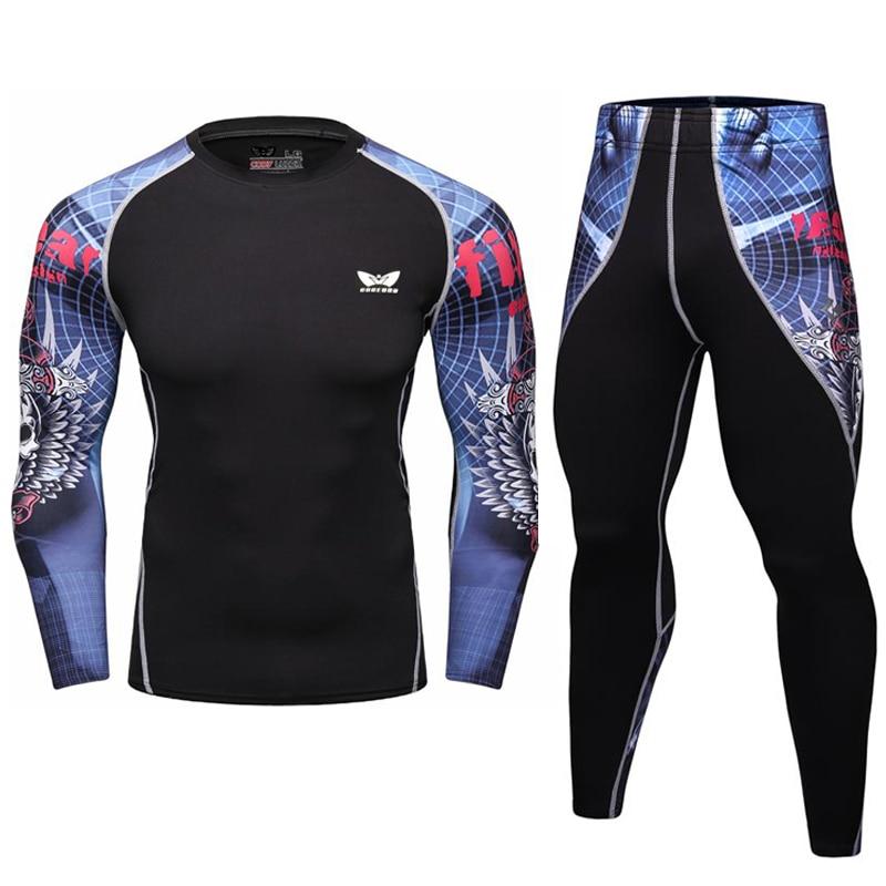 Vyrų kompresinis marškinėliai Rashguard ilgomis rankovėmis 3D spausdinimas Jiu Jitsu marškinėliai MMA Fitness vyrų greitai sausas fitnesas Crossfit viršuje
