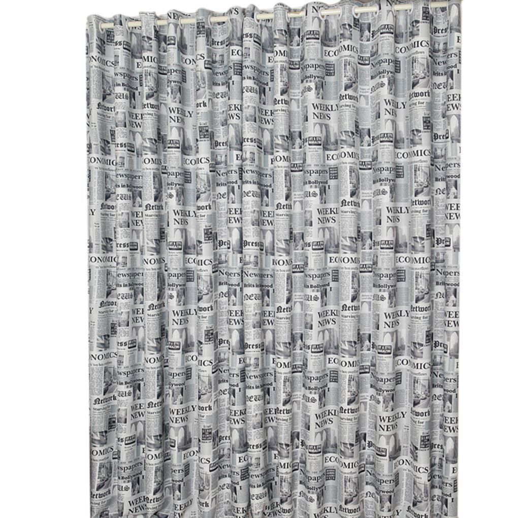New Fashion Brown/Gray English Newspaper Pattern Printed Thermal Insulated  Curtains For Bedroom(China