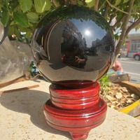 11CM HUGE SPHERE BALL OBSIDIAN QUARTZ NATURAL STONE CRYSTAL QUARTZ WITH BASE For home decoration