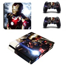 Iron Man PS4 Slim Sticker For Sony Playstation 4 Slim Console+2 controller Skin Sticker For PS4 S Skin