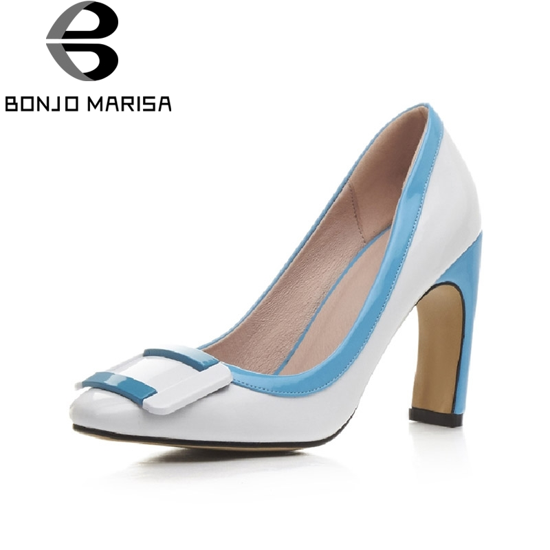 BONJOMARISA Big Size 32 43 Sexy Women Gladiator High Heels Buckle Shoes Fashion Color Mixed Less
