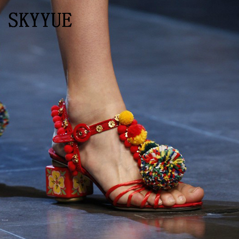 купить 2018 New Genuine Leather Bohemian Pom Pom Women Sandals Sexy Gladiator 5.5 CM HIigh Heels Shoes Women по цене 5031.82 рублей