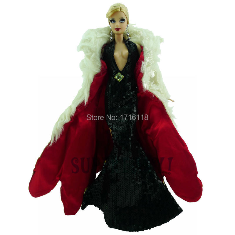 все цены на Fashion Outfit Black Sequin Deep V Dress With High Side Slit White Fur Overcoat Wedding Party For Barbie Doll Clothes 11.5