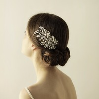 High end Handmade Hair Claws Women Hair Jewelry Marriage Wedding Accessories Bridal Headdress silver Floral O841