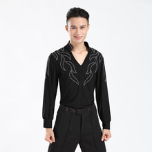 2017 new Free Shipping Wholesale Custom-made Men Boy Latin Dance Shirt Dresses Ballroom Rumba Cha-cha Latin Tops Boys Dance Wear