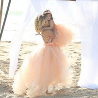 Floor Length Wedding Skirt Tulle Overskirt Sexy Pleated Fashion Handmade Woman Tutu Female Long Skirt Lolita Saia Longa