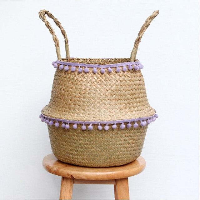 Lidar com Seagrass Cesto de roupa suja Dobrar Roupas Brinquedos Organizador Titular de Armazenamento De Vime Plantador Vaso de Palha Feitos À Mão Decoração Da Sua Casa