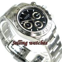 PARNIS черный циферблат сапфировое стекло cermaic ободок кварцевый хронограф мужские часы