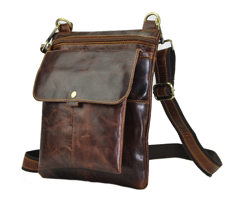 New Fashion Real Leather Coffee Male Casual messenger bag Satchel cowhide 8 Pad Cross-body Shoulder bag For Men 8303