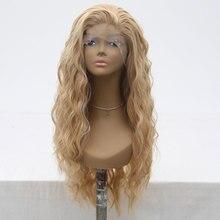 Bombshell סינטטי תחרה מול פאה טבעי גל לערבב בלונד עמיד בחום סיבי שיער טבעי קו שיער צד חלק עבור נשים בנות