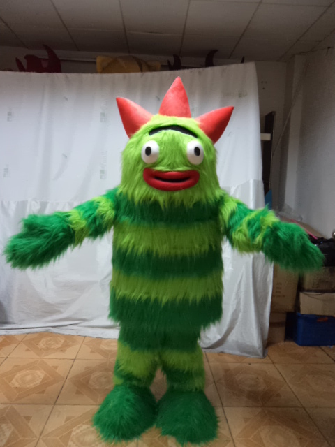 high quality costume long hair plush cute monster mascot costumes green fur plush costumes