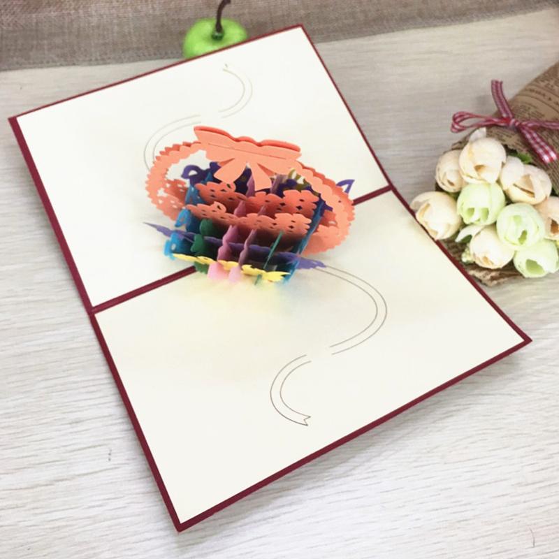 1pcs Flower Baskets Laser Cut Kirigami 3D Pop UP Greeting & Gift DIY Cards Handmade Creative Thanksgiving Day Birthday Gifts (2)