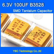 Free Shipping 100pcs/lot 3528 SMD Tantalum Capacitor 6.3V 100UF B3528 10% Tolerance