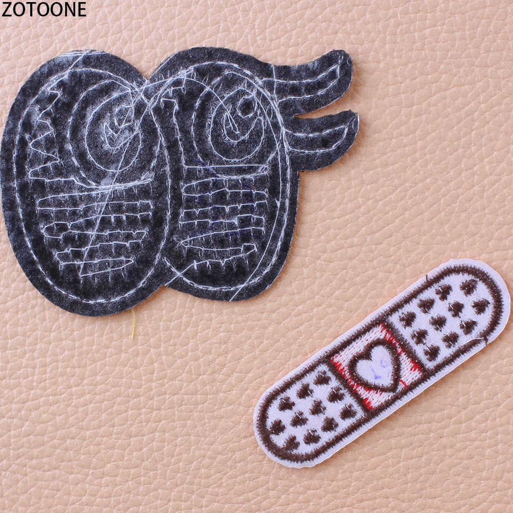 Zotoone Payet Cute Heart Patch untuk Pakaian Bordir Patch Aplikasi untuk Jaket Pakaian Lencana Besi Pada Stiker Applique