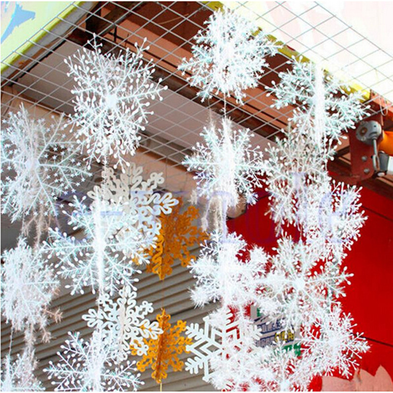 30 Pcs/set Christmas Decoration White Snowflakes Hanging Ornaments Stereoscopic Snow for Christmas Holiday Party Home Decor