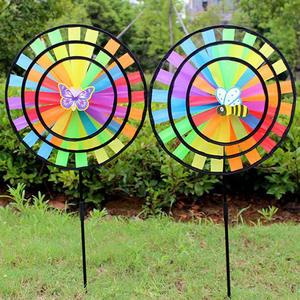 36cm Colorful Rainbow Triple Wheel Wind Spinner Windmill Garden Yard Decor Toys