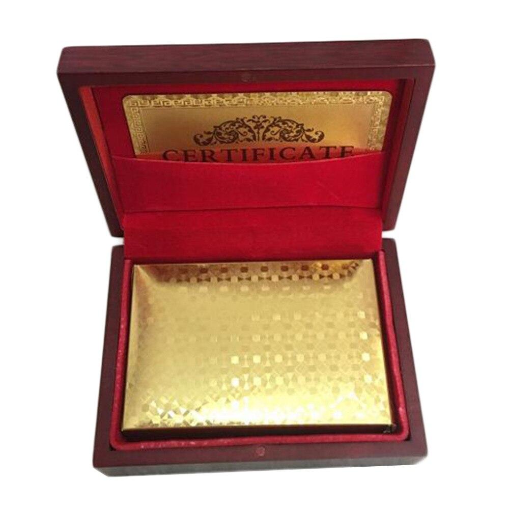 Cartes à jouer Euro modèle 24k plaqué or pleine plate forme de Poker Pure avec boîte en bois cadeau de noël - 4