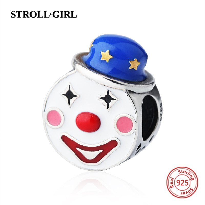 Cute clown charms beads with enamel Fit authentic pandora Bracelet silver 925 Original European fashion jewelry making for gifts