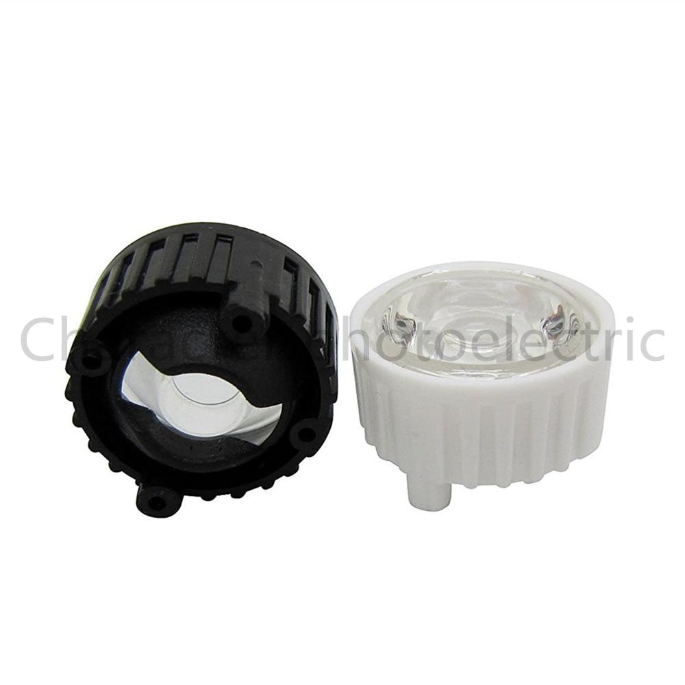 Купить с кэшбэком 20pcs/lot LED lens for 1W 3w LED light black white holder 20mm high quality 5 10 30 45 60 90 120 degree optical lens