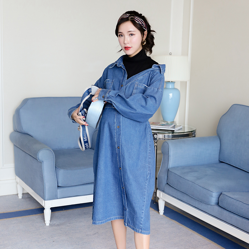 High quality pregnant women autumn 2018 new denim stitching strapless maternity dress loose dress все цены