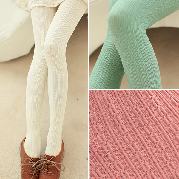 W7841 autumn and winter womens tights candy colors velvet pantyhose twisted knitting