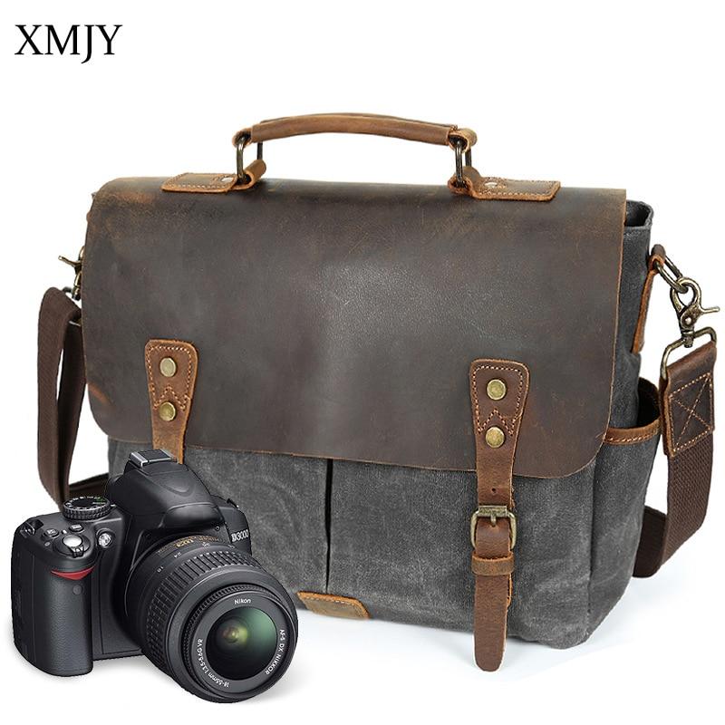 XMJY Leather&Canvas Men's Briefcase Vintage Business Casual Handbag Messenger Shoulder bag SLR Camera Bag Office Document tote dollice dr 655 canvas camera bag black as domke f7