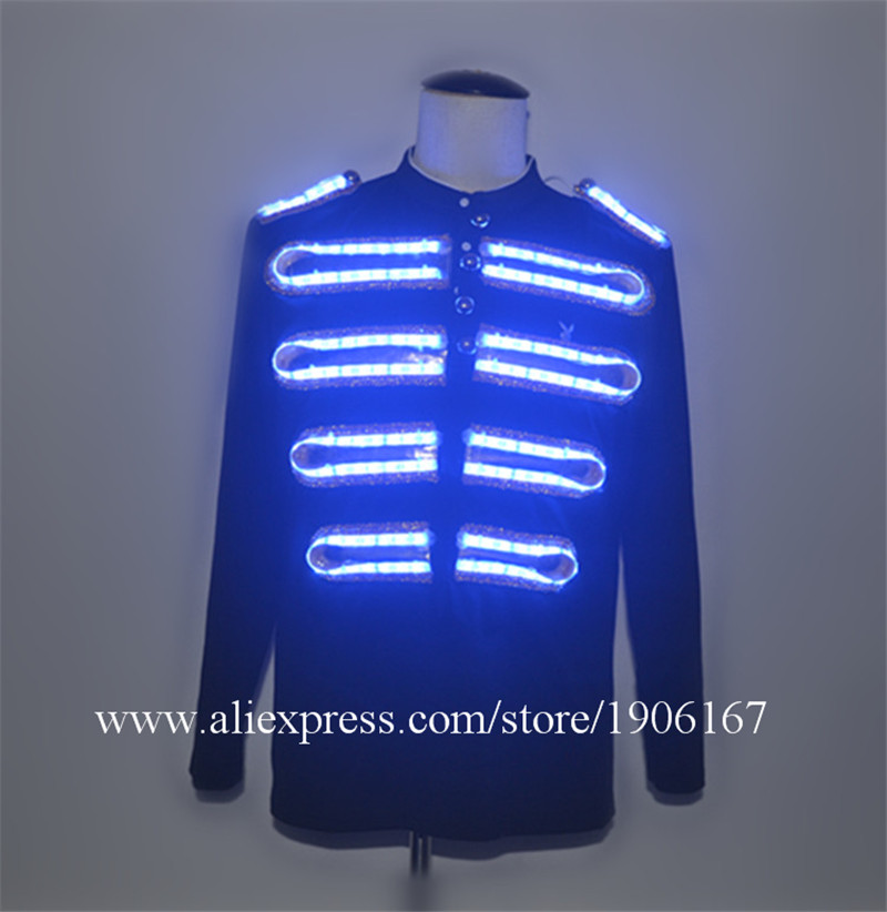 Fashion LED Clothing Luminous Costumes Glowing LED Suits Clothes Stage Show Men led Lighting costume Dance Accessories