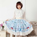 Harujuku Alice in worldland style Lolita Princess Lace Mid Skirt Lady Pleated Cartoon Music Note Lace Cotton High quality Skirt