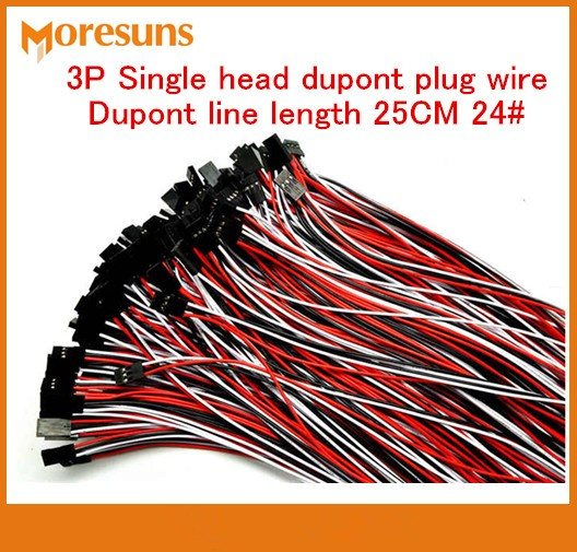 Free Ship 20pcs/lot 3P Single Head Dupont Plug Wire Dupont Line Length 25CM 24# Dupont Cables