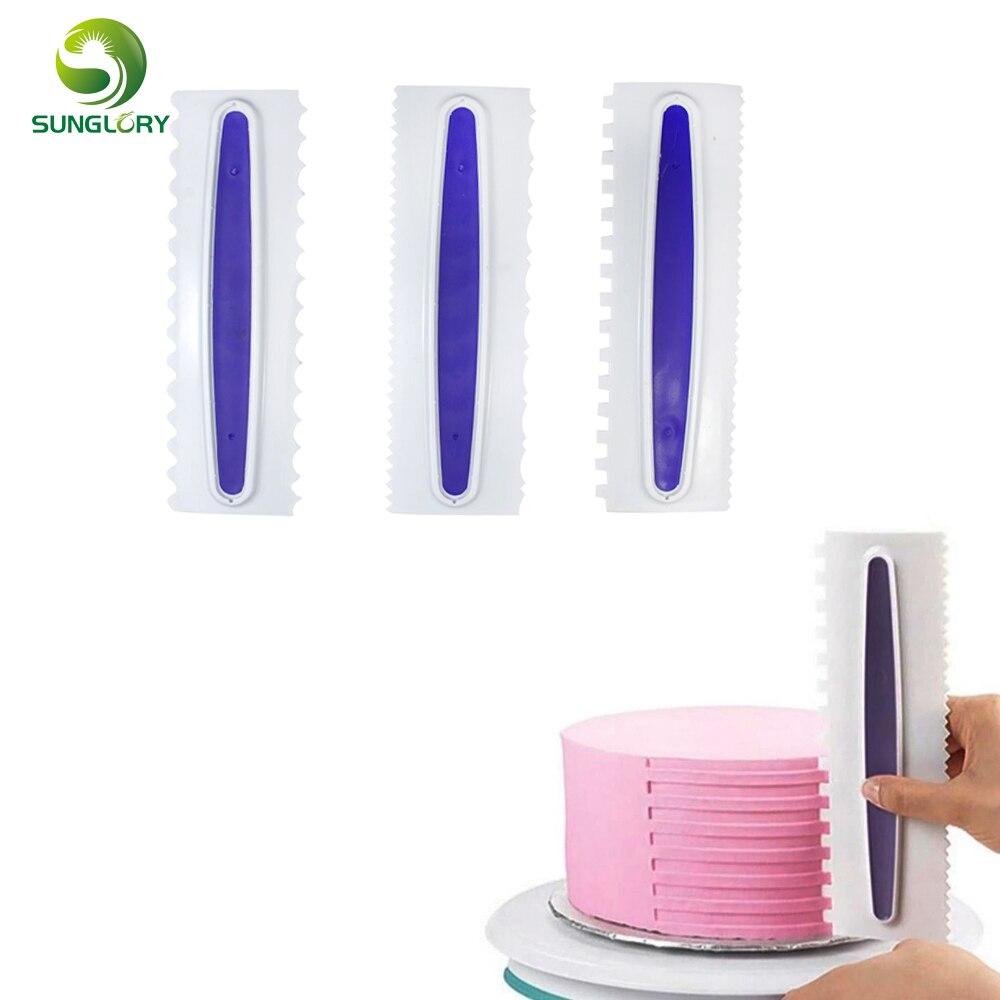 3pcs plastic fondant cake scraper decorating icing comb set free shipping