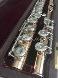 Muramatsu Gold Lacquer Flute Closed Holes Split E 16 Keys Flute High Quality Musical Instrument With Case