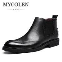 MYCOLEN Роскошные модные Мужские ботинки зимние Ботильоны из телячьей кожи Для мужчин Баллок Carving удобные цветочные ботинки martin Bottine