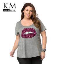 Kissmilk 2017 Big Size Women Casual Solid Gray Red Lips Sequin T-shirt large O-Neck Slim Plus 4XL 5XL 6XL
