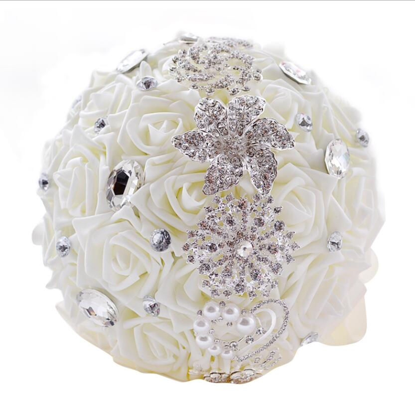 AYiCuthia PE Flowers Bridal Flowers Rhinestone Brooch Bouquet Silver Broach Bridal Wedding Dress Wedding Bouquet S120