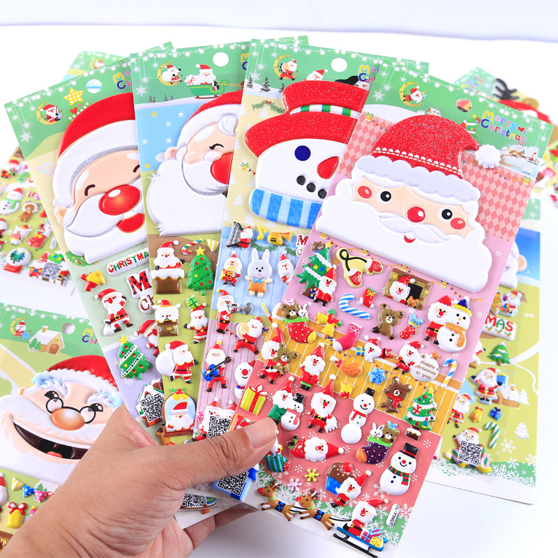 Christmas 3D sticker PVC foam stickers with christmas song music, daily notebook ornament children gift image