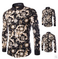 New Man Spring 2016 Elegant Print Casual Men Shirt Vintage Mens Floral Dress Shirts Slim Fit Long Sleeve Clothing Chemise Homme