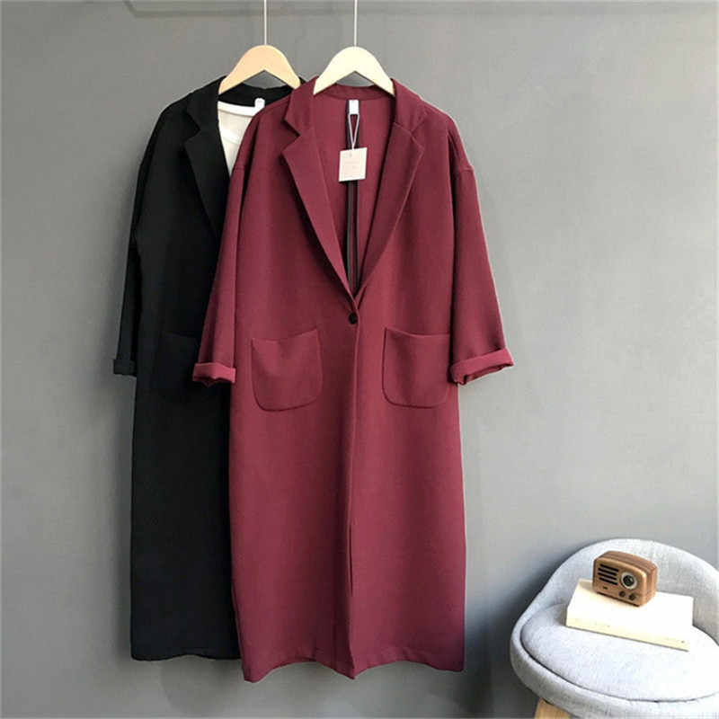 Oversize Women Trench Coat 2019 Spring Autumn New Style Loose Suit Collar Solid Elegant Pocket Windbreaker Office Female Q239