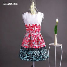 Fashion Bottoming Dress Summer Style Women Dress Vintage Printing Sexy Party Dresses vestidos Leisure Plus Size
